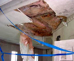 Condensation and humidity caused structural failure to pool room ceiling