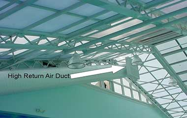 Air flow duct work in pool room facility