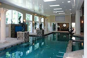 Indoor pool room with humidity control by DXair dehumidification system