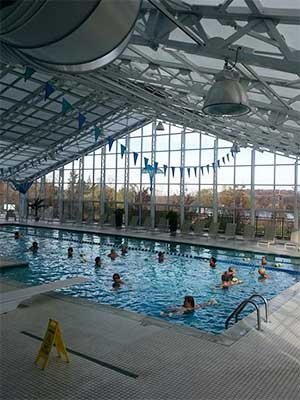 Indoor and outdoor pool at athletic facility