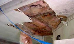 Structural damage to pool room ceiling caused by humidity and condensation