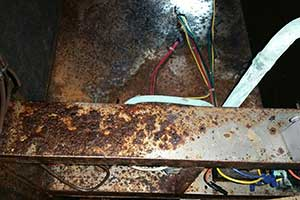 Corrosion on HVAC pool room equipment